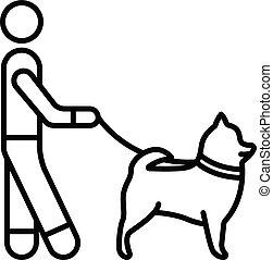 ambulante, contorno, estilo, icono de perro, hombre