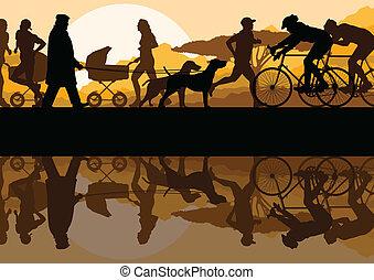 ambulante, corriente, y, ciclismo, en, naturaleza, parque, paisaje, plano de fondo, ilustración, vector