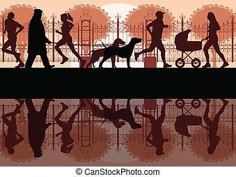ambulante, corriente, y, ciclismo, en, viejo, vendimia, parque de la ciudad, paisaje, plano de fondo, ilustración, vector