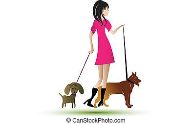 ambulante, dama, perros