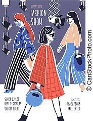 ambulante, desfile de modas, alta costura, catwalk., acontecimiento, creativo, plantilla, dibujado, promotion., llevando, modelos, cartel, ilustración, mano, aviador, por, pista, vector, elegante, o, ropa