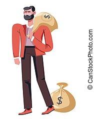 ambulante, dinero, dólar, efectivo, saco, bolsa, hombre de...