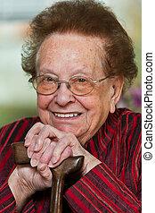 ambulante, discapacitada / discapacitado, palo, ciudadano, sonrisa, 3º edad