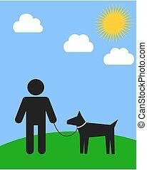 ambulante, el suyo, parque, perro, hombre