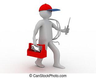 ambulante, electricista, con, caja de herramientas, cable, y, cap., 3d, rendido, ilustración