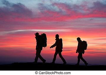ambulante, en, el, sunglow, excursionistas