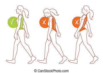 ambulante, espina dorsal, postura, malo, posición, correcto