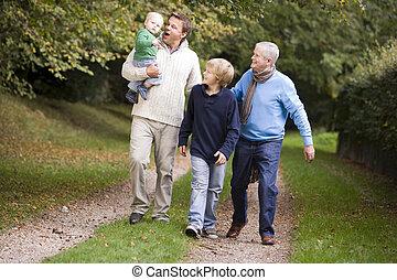 ambulante, garndfather, padre, nietos, aire libre, trayectoria