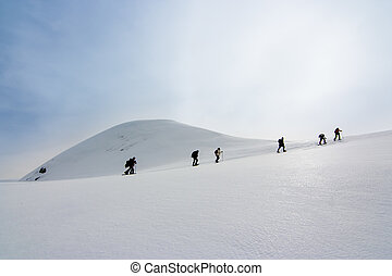 ambulante, hacia, gente, nieve, Raquetas, cumbre, colina