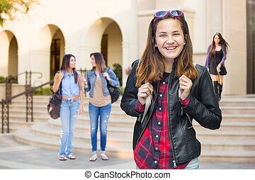 ambulante, hembra, joven, carrera, estudiante, mezclado, campus