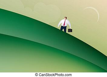 ambulante, hombre, arriba, empresa / negocio, colina