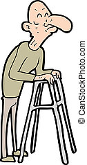 ambulante, hombre, viejo, marco, caricatura