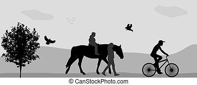 ambulante, illustration., gente, parque, caballo, bicycle., vector