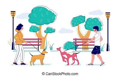 ambulante, ilustración, parque, vector, plano, perro