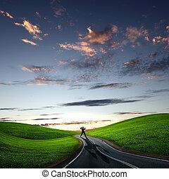 ambulante, lejos, por, amanecer, camino, hombre