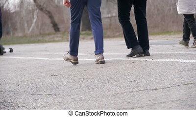 ambulante, lento, gente, movimiento, park., piernas