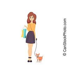 ambulante, mascota, shopaholic, perro, vector, hembra