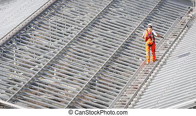 ambulante,  metal, trabajador, techo, macho, estructura