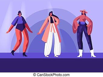 ambulante, moda, hembra, exposición, haute, pret-a-porte, alta costura, catwalk., formado, apparel., ropa, niñas, nuevo, plano, caracteres, colección, ilustración, se manifestar, caricatura, pista, vector, modelo