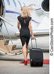 ambulante, mujer, chorro, equipaje, privado, hacia, rico