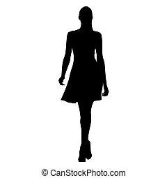 ambulante, mujer joven, en, vestido del verano, aislado, vector, silueta