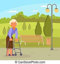 ambulante, mujer, marco, incapacitado, vector, 3º edad