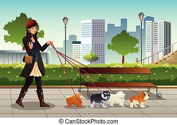 ambulante, mujer, perros, ella