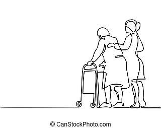 ambulante, mujer, viejo, ayuda, marco, joven, utilizar
