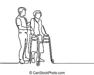 ambulante, mujer, viejo, ayuda, marco, joven, utilizar, hombre