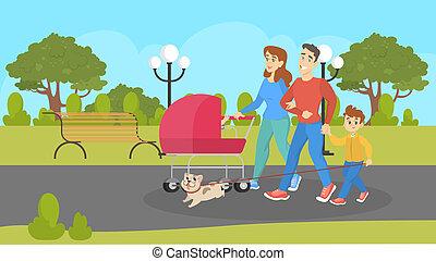 ambulante, niños, perro, familia , cochecito