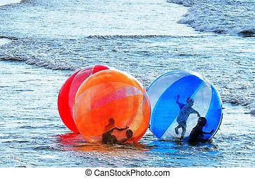ambulante, pelota, -, agua, mar, deporte
