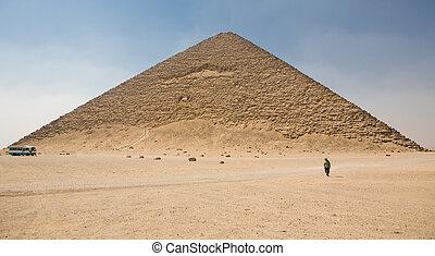ambulante, pirámide, rojo