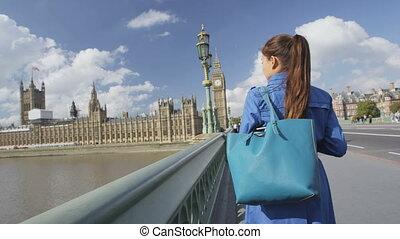 ambulante, puente, inglaterra, bolsa, westminster, londres, mujer