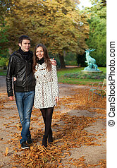 ambulante, romántico, coouple, parís, luxemburgo, jardín