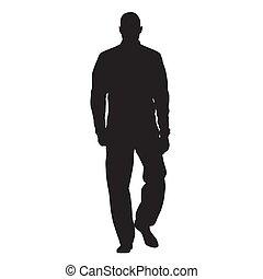 ambulante, silueta, anorak, atleta, tracksuit, frente, vector, vista, hombre