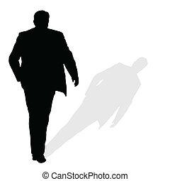 ambulante, silueta, vector, arte, sombra, hombre