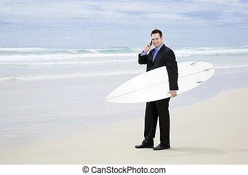 ambulante, tabla de surf, juicio negocio, playa, hombre