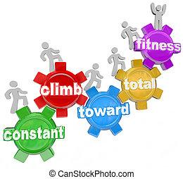 ambulante, total, constante, gente, condición física, subida, hacia