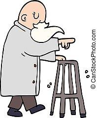 ambulante, viejo, garabato, marco, caricatura, hombre