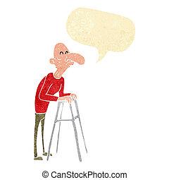 ambulante, viejo, marco, burbuja del discurso, caricatura, hombre
