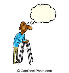 ambulante, viejo, marco, burbuja del pensamiento, caricatura, hombre