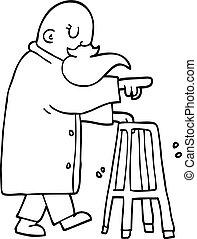 ambulante, viejo, marco, caricatura, dibujo lineal, hombre