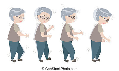 ambulante, viejo, parkinson's, síntomas, hombre, difícil