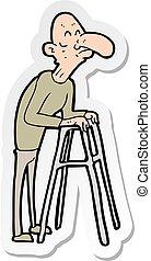 ambulante, viejo, pegatina, caricatura, marco, hombre