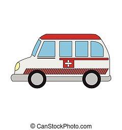 ambulanza, cartone animato, isolato