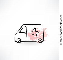 ambulanza, grunge, icona