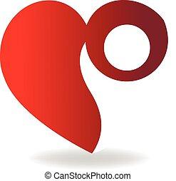 ame coração, figura, logotipo, vetorial