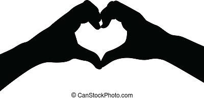 ame coração, mãos