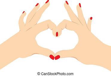 ame coração, sinal mão