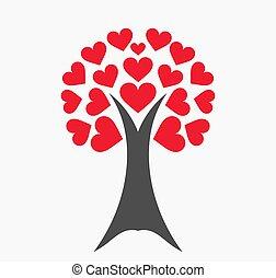 ame corações, árvore, leaves., vermelho